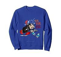 The Smurfs Run Run Run Shirts Sweatshirt Royal Blue