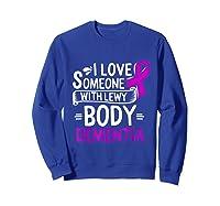 Lewy Body Detia Awareness Purple Ribbon Brain Disease T-shirt Sweatshirt Royal Blue