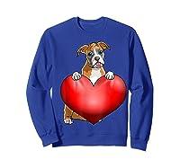 Valentines Day Dog Boxer Heart Gift Girl Shirts Sweatshirt Royal Blue