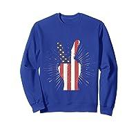 Peace American Flag Funny Gift 4th Of July Shirt Sweatshirt Royal Blue