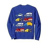Emergency Vehicles Fire Truck Police Car Ambulance Tow Truck Shirts Sweatshirt Royal Blue