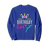 Birthday Girl 7 Year Old Gift Cute Unicorn Face 7th Bday T-shirt Sweatshirt Royal Blue