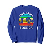 Boca Raton Florida Palm Trees Sunset Matching Vacation T-shirt Sweatshirt Royal Blue