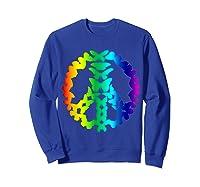 Butterflies Peace Sign Love Butterfly 60s Retro Hippie Gift T-shirt Sweatshirt Royal Blue