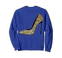 Cool Pointy Leopard Animal Print High Heels Shirt Gift Sweatshirt Royal Blue