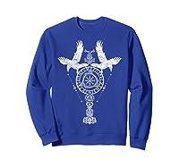Odins Ravens Huginn & Muninn Vegvisir Tshirt Mjolnir Valknut Sweatshirt Royal Blue