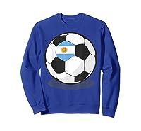 Argentinian Flag On Soccer Ball   Argentina Football Shirts Sweatshirt Royal Blue