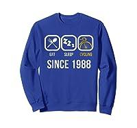 Eat Sleep Cycling Since 1988 T-shirt 30th Birthday Gift Tee Sweatshirt Royal Blue