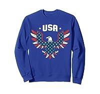 Patriotic American Flag Bald Eagle Usa T Shirt  Sweatshirt Royal Blue