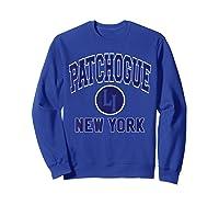 Patchogue Li Varsity Style Navy Blue Print Shirts Sweatshirt Royal Blue