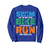Swim Bike Run Triathlon Running Cycling Swimming Shirts Sweatshirt Royal Blue