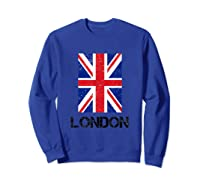 London, England Union Jack Shirts Sweatshirt Royal Blue