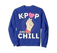 K Pop And Chill Finger Heart Korean Kpop Merchandise Shirts Sweatshirt Royal Blue