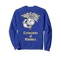 Back Design 8404 Fmf Corpsman Military Veteran Shirts Sweatshirt Royal Blue