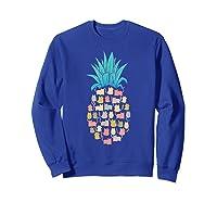 Summer Hawaii Pineapple Cat Kawaii Neko Aloha Hawaiian Shirts Sweatshirt Royal Blue
