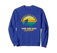 Retro Comanche Creek, Colorado Big Foot Souvenir Shirts Sweatshirt Royal Blue