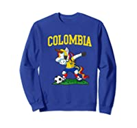 Dabbing Soccer Colombia Unicorn Colombian Football Shirts Sweatshirt Royal Blue