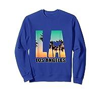 Los Angeles Design La Palm Tree Sunset Boulevard T-shirt Sweatshirt Royal Blue