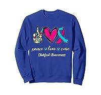 Peace Love Cure Light Blue Pink Ribbon Clubfoot Awareness Shirts Sweatshirt Royal Blue