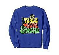 Peace Love Music Reggae Guitar T-shirt For Everyone Sweatshirt Royal Blue