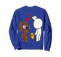Brown Bear Cony Bunny Rabbit Engaget Ring Marriage Fiance Shirts Sweatshirt Royal Blue