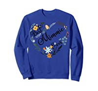 Best Mimmie Ever Heart Flower Blessed Grandma Mother's Day Shirts Sweatshirt Royal Blue