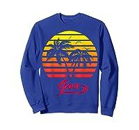 Goa 80s Summer Beach Palm Tree Sunset Shirts Sweatshirt Royal Blue
