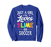 Just A Girl Who Loves E And Soccer Gift Shirts Sweatshirt Royal Blue