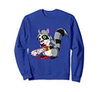 Spooky Halloween Costume Trash Panda Bloody Chainsaw Raccoon Shirts Sweatshirt Royal Blue