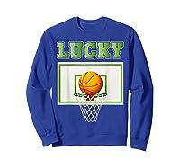 Leprechaun Lucky Basketball St Patrick's Day Shirts Sweatshirt Royal Blue