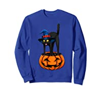 Witch Black Cat Funny Halloween Horror Scary Shirts Sweatshirt Royal Blue