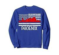 Phoenix Firefighter Red Line Skyline American Flag Hero Shirts Sweatshirt Royal Blue