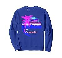 Vaporwave Aesthetic Summer Beach Sunset Palm T-shirt Sweatshirt Royal Blue