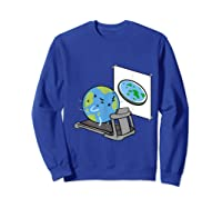 Flat Earth Workout Conspiracy Theory T-shirt Sweatshirt Royal Blue
