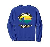 Retro Del Norte, Colorado Big Foot Souvenir Shirts Sweatshirt Royal Blue