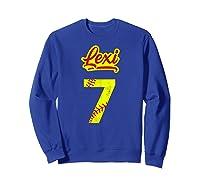 Lexi Softball No #7 Number 7 Girl Cat & Pit T-shirt Sweatshirt Royal Blue