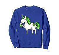 Lepricorn Unicorn St Patrick's Day With Green Clover Shirts Sweatshirt Royal Blue