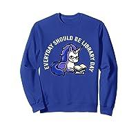 Cute Unicorn Reading Book Librarian Lover Library 2019 Shirt Sweatshirt Royal Blue