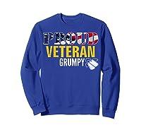 Proud Veteran Grumpy With American Flag Veteran Day Gift Shirts Sweatshirt Royal Blue