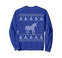 Unicorn Ugly Christmas Sweater, Funny Holiday Gift Shirts Sweatshirt Royal Blue