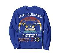 Vintage Video Level 16 Unlocked Gamers 16th Birthday Gifts Shirts Sweatshirt Royal Blue