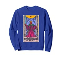 Justice Tarot Card Psychic Occult Metaphysical Shirts Sweatshirt Royal Blue