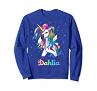 Name Rainbow Unicorn Dabbing Shirts Sweatshirt Royal Blue