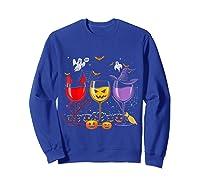 Pumpkin Halloween Wine Glasses Funny Shirts Sweatshirt Royal Blue