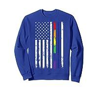 Police Support Lgbt Gay Pride Thin Red Line Rainbow Flag Fun T-shirt Sweatshirt Royal Blue