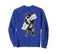Bear Hug I Love California Art Retro Vintage Cali Bear Shirts Sweatshirt Royal Blue