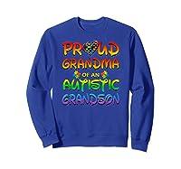 Autism Awareness Proud Grandma Of Autistic Grandson Shirts Sweatshirt Royal Blue