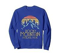 Vintage Rocky Mountains National Park Colorado Retro Shirts Sweatshirt Royal Blue