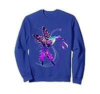 Hummingbird Purple Ribbon Pancreatic Cancer Awareness Shirts Sweatshirt Royal Blue