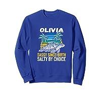Personalized Olivia Design Sassy & Salty Quote Beach Lover Premium T-shirt Sweatshirt Royal Blue